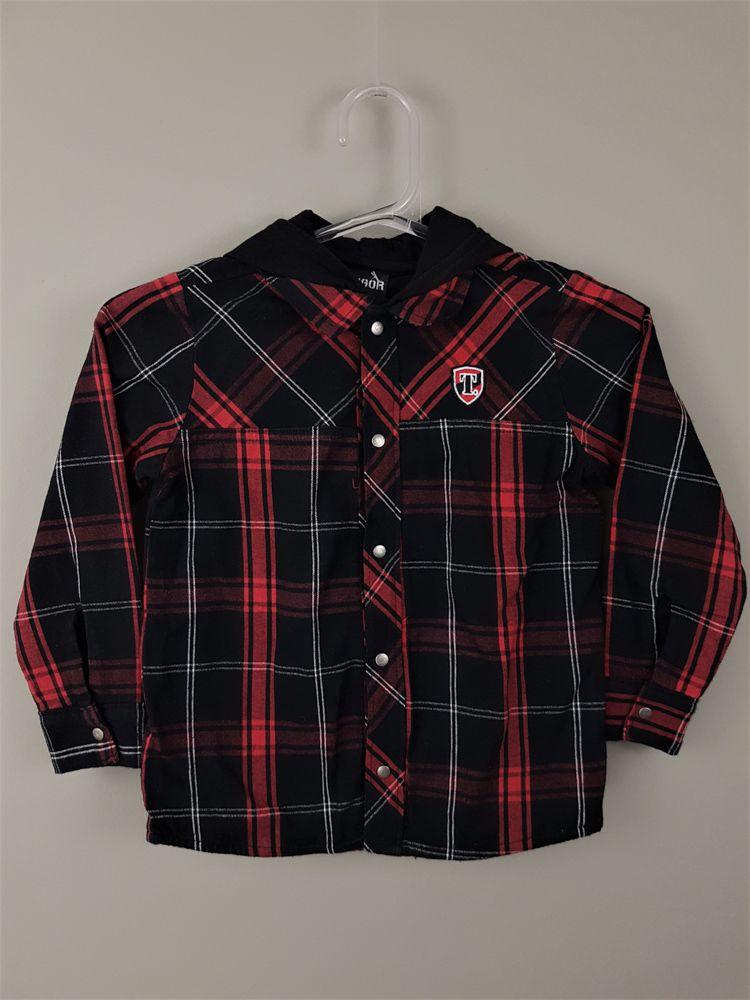 Camisa xadrez vermelho/branco/preto Tigor tam 10