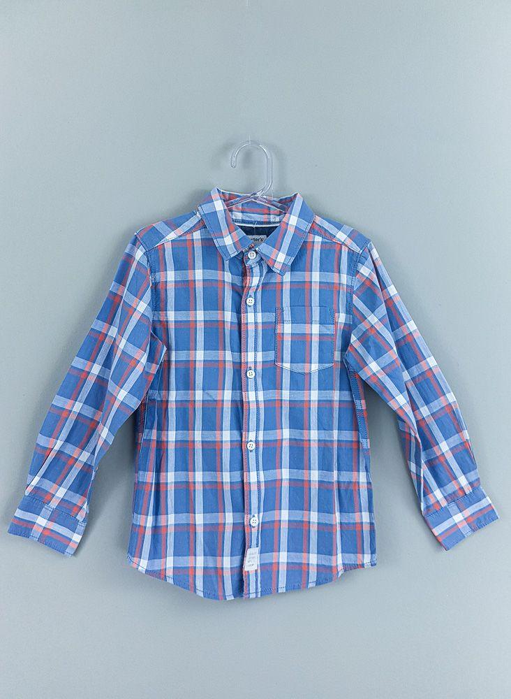 Camisa xadrez azul e laranja Carters tam 5