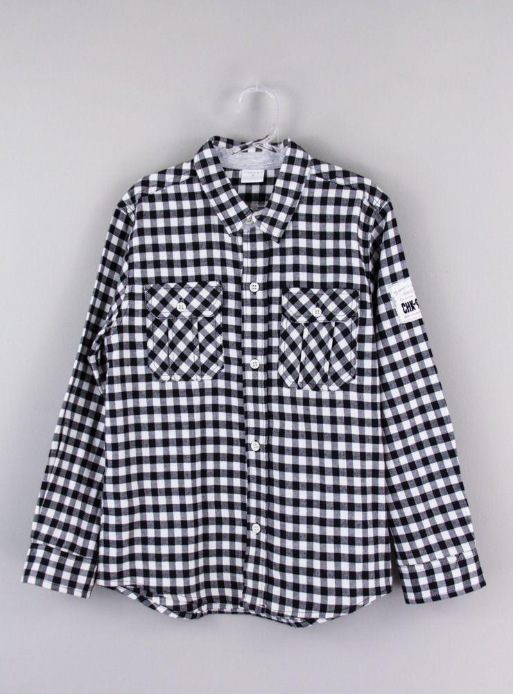 Camisa xadrez preta e branca Cheeky tam 8
