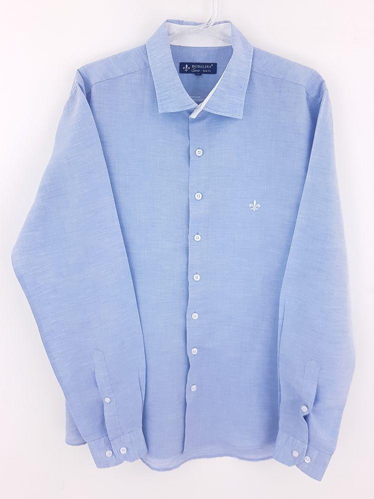 Camisa linho azul claro detalhe branco gola Dudalina tam 3