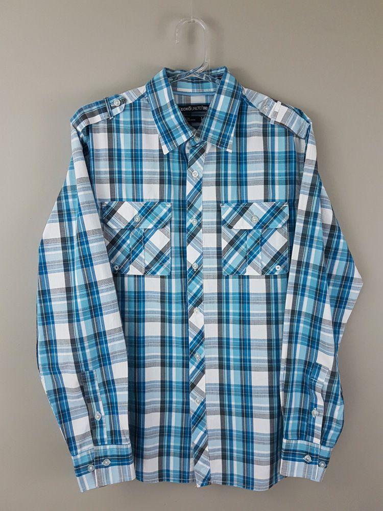 Camisa xadrez azul/branco/cinza Eckonltd tam M