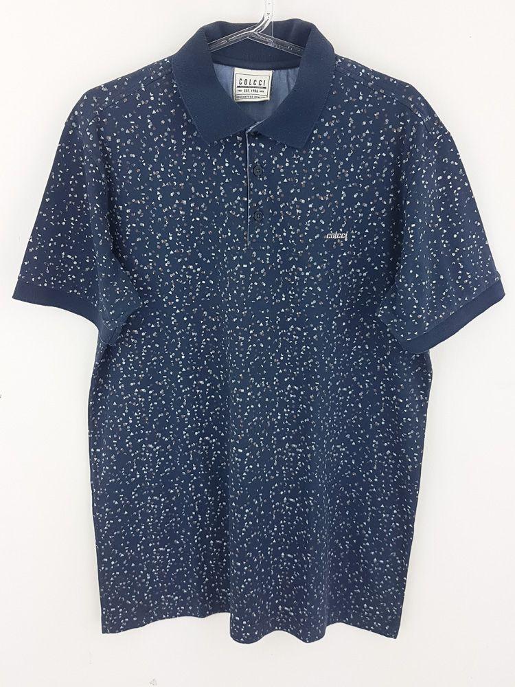 Camisa polo marinho detalhe branco/marrom Colcci tam M