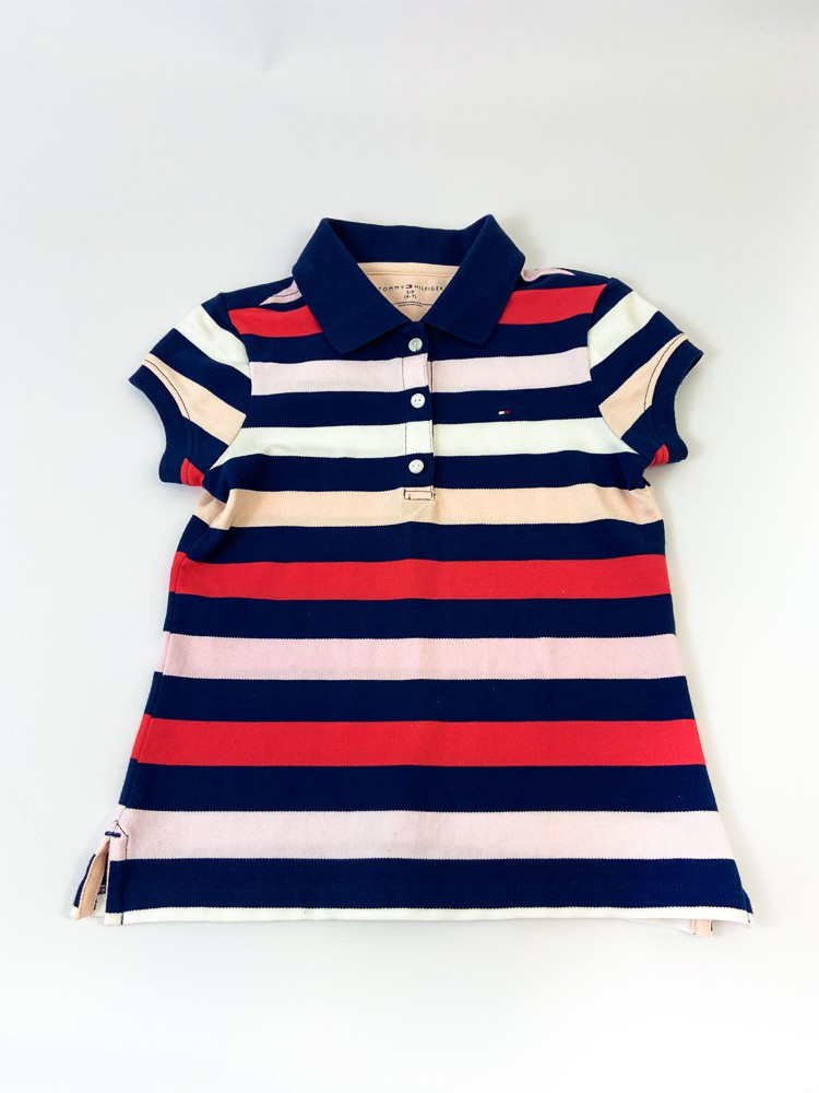 Camisa polo listras coloridas Tommy Hilfiger tam 6/7