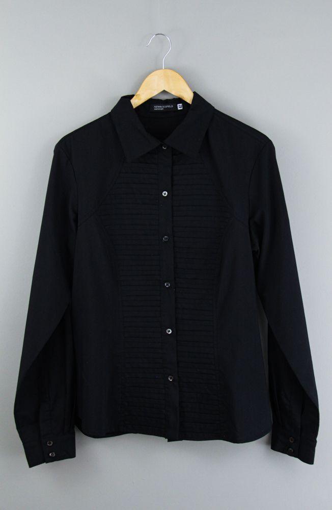 Camisa preta detalhe pregas Fátima Scofield tam 42