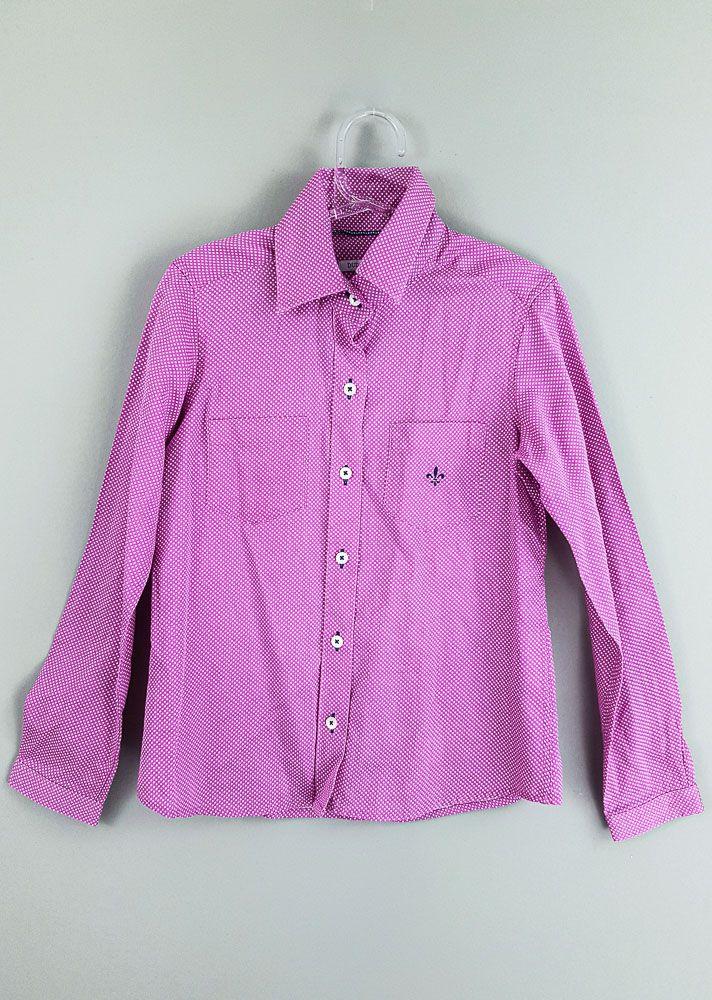 Camisa rosa poá branco Dudalina tam 8