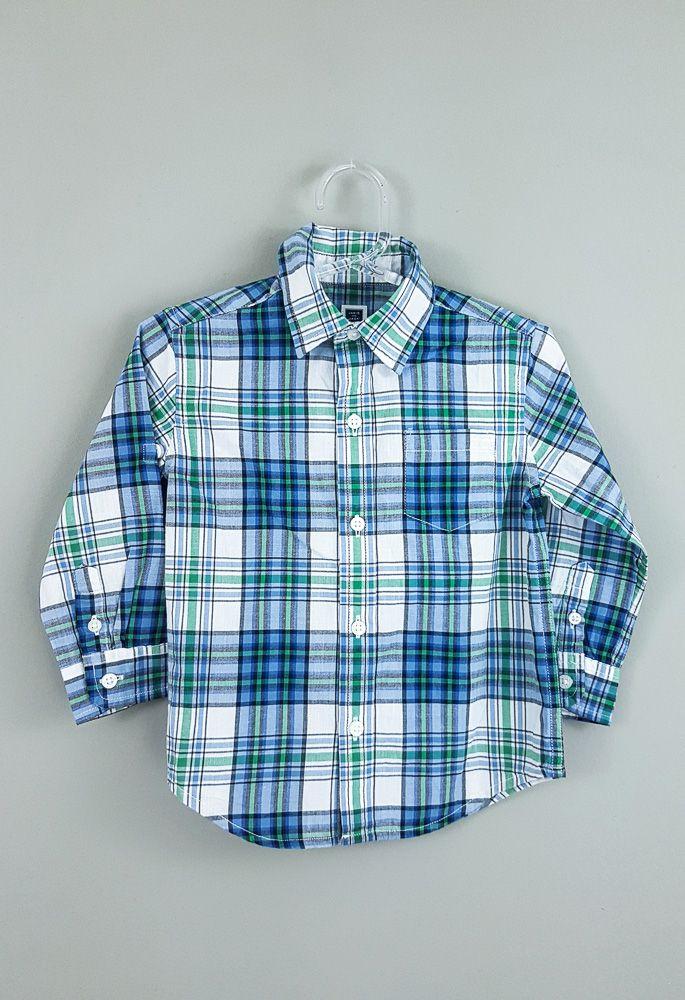 Camisa xadrez azul/verde Janie And Jack tam 18/24m
