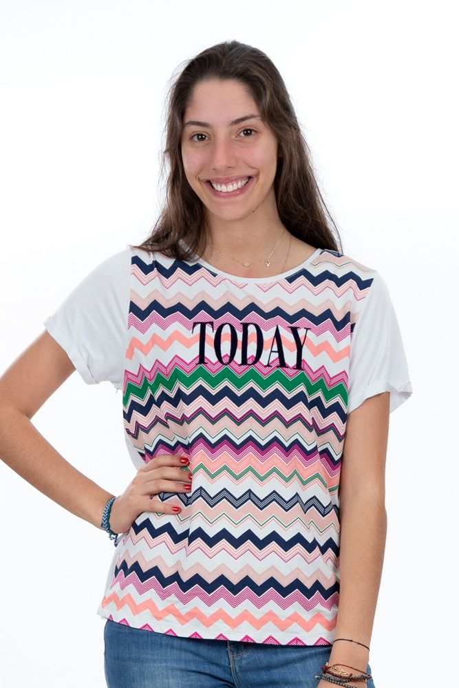 Camiseta branca estampa colorida Today Missoni for C&A tam G