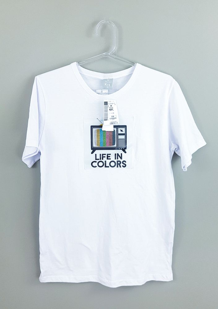 Camiseta branca Tv Hering Kids tam 16