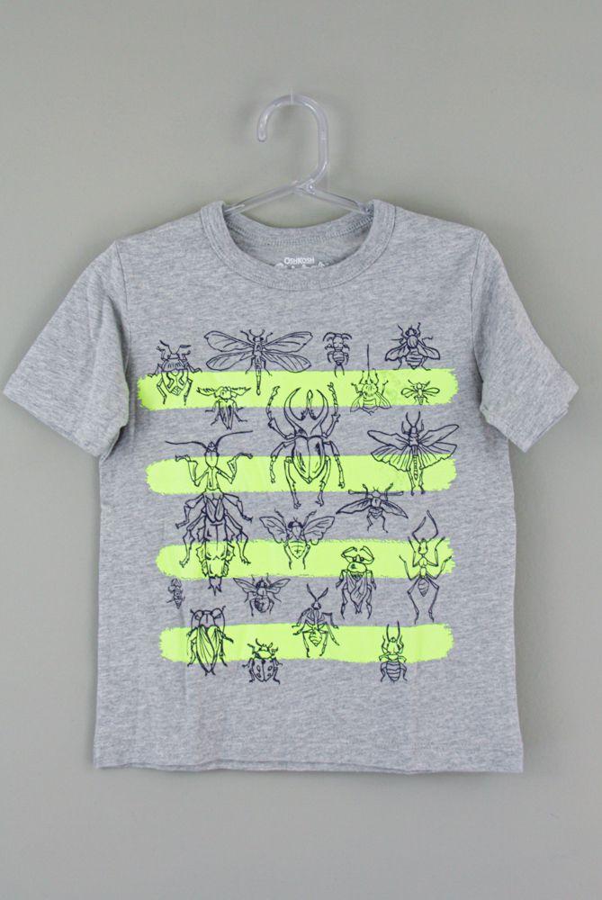 Camiseta cinza listras besouros Oshkosh tam 4