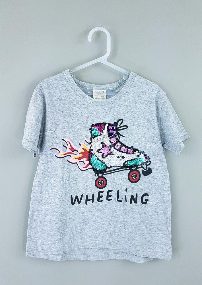 Camiseta cinza patins paetês Zara tam 6