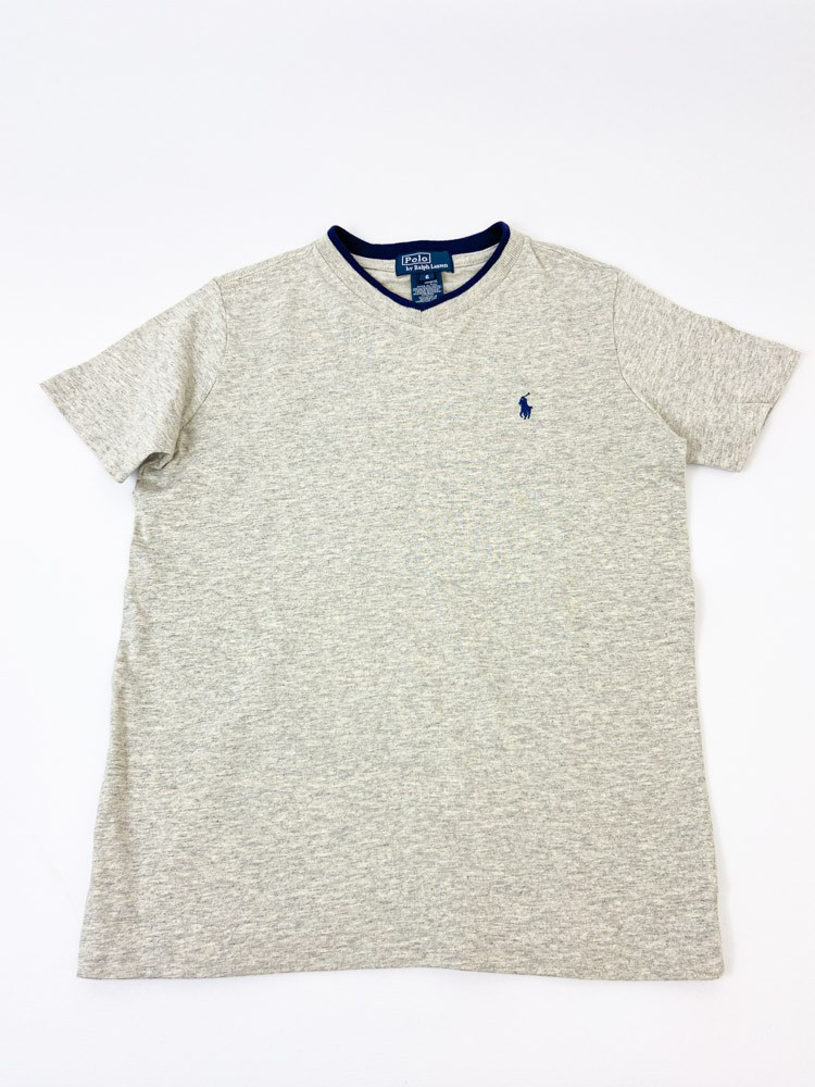 Camiseta mescla cinza bordado marinho Ralph Lauren tam 6