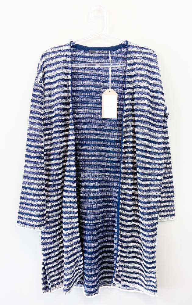 Cardigan tricot marinho/branco fios prata Shoulder tam P