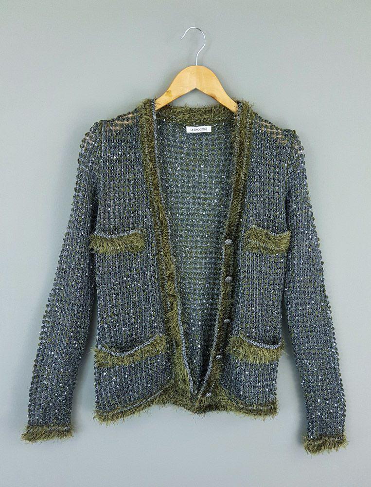 Casaco tricô verde/cinza fios prata La Chocolê tam M