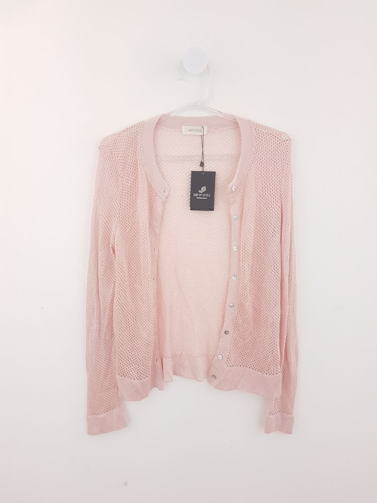 Casaquinho tricô rosa botões Lofty Style tam M