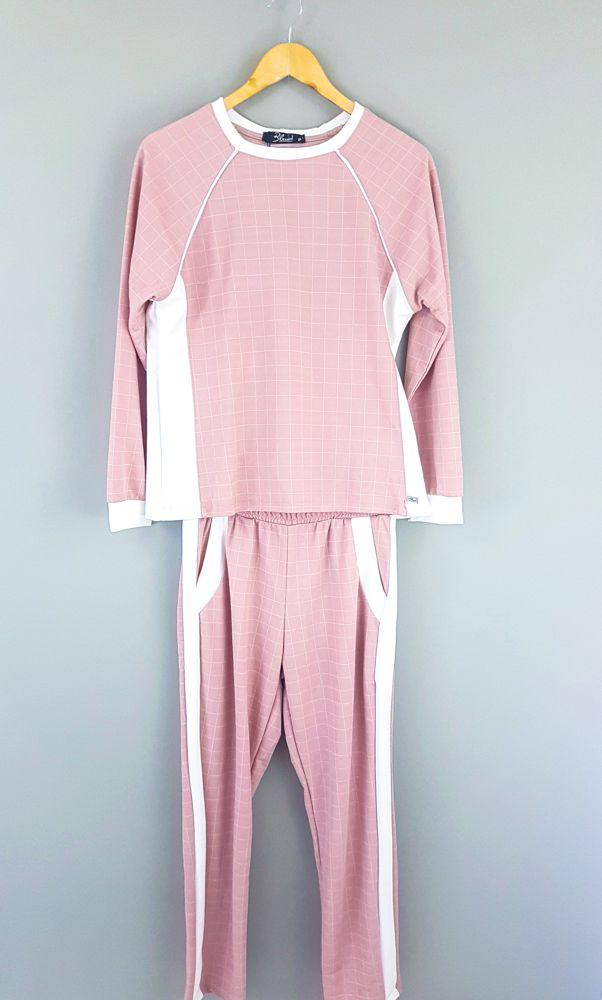 Conjunto blusa/calça xadrez rosa/branco Blessed Tam P