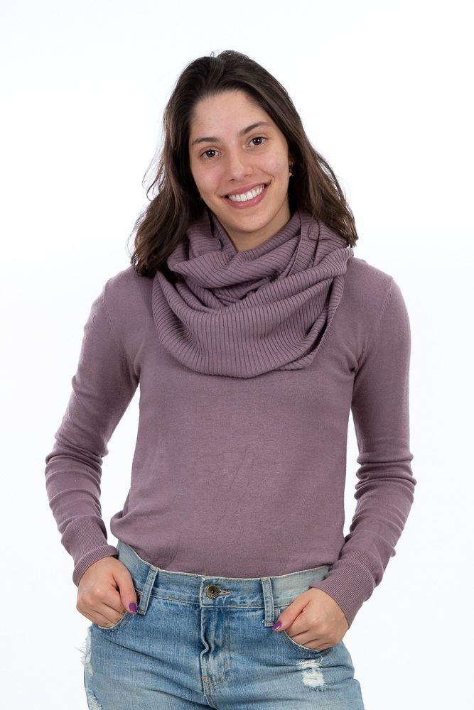 Conjunto blusa tricot rosa seco c/ golão Trettiore tam M