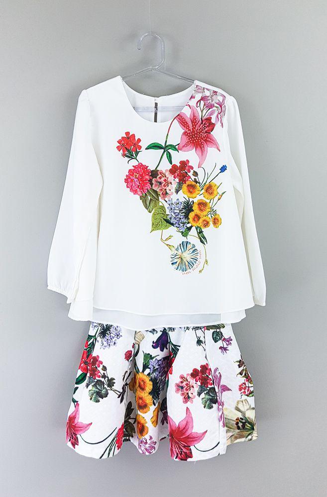 Conjunto saia/blusa branca estampa floral Um mais Um tam 10
