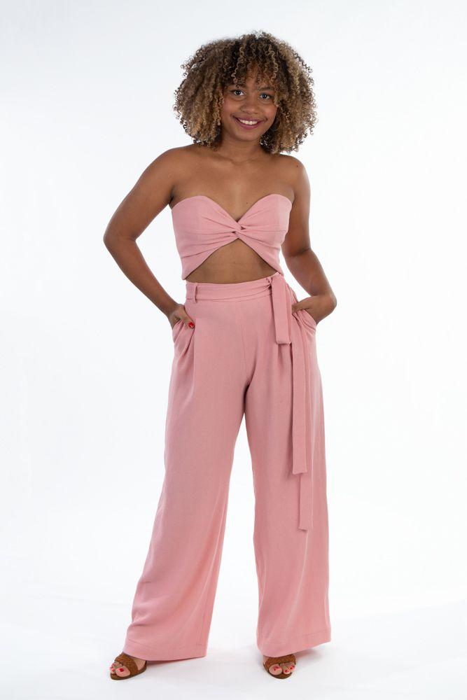 Conjunto  top e calça Rosa  com faixa  Sclub PP