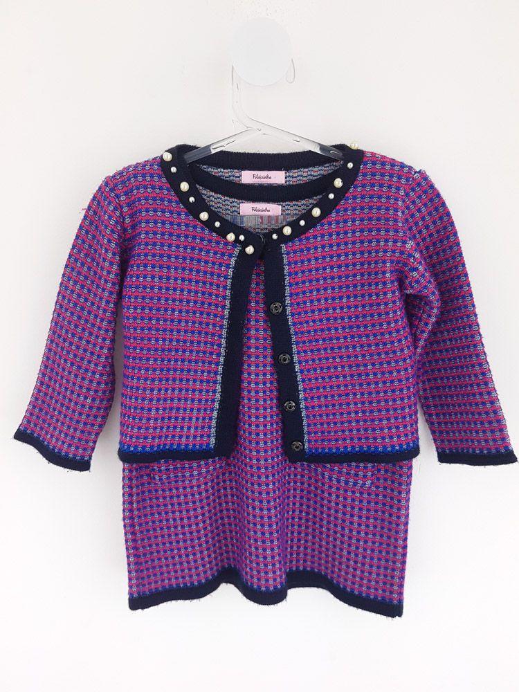 Conjunto vestido e casaquinho tricô pink/marinho Filozinha tam M