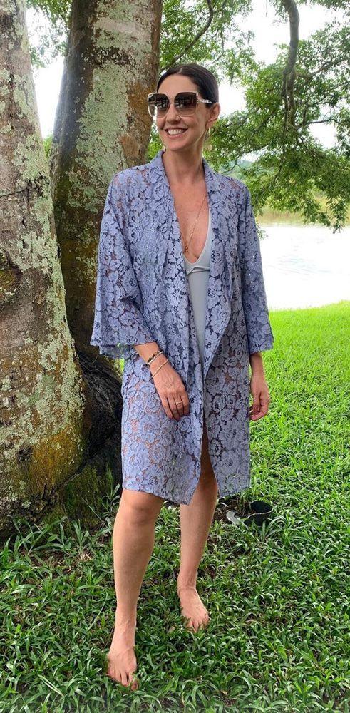 Kimono renda azul Sabine Arias tam M