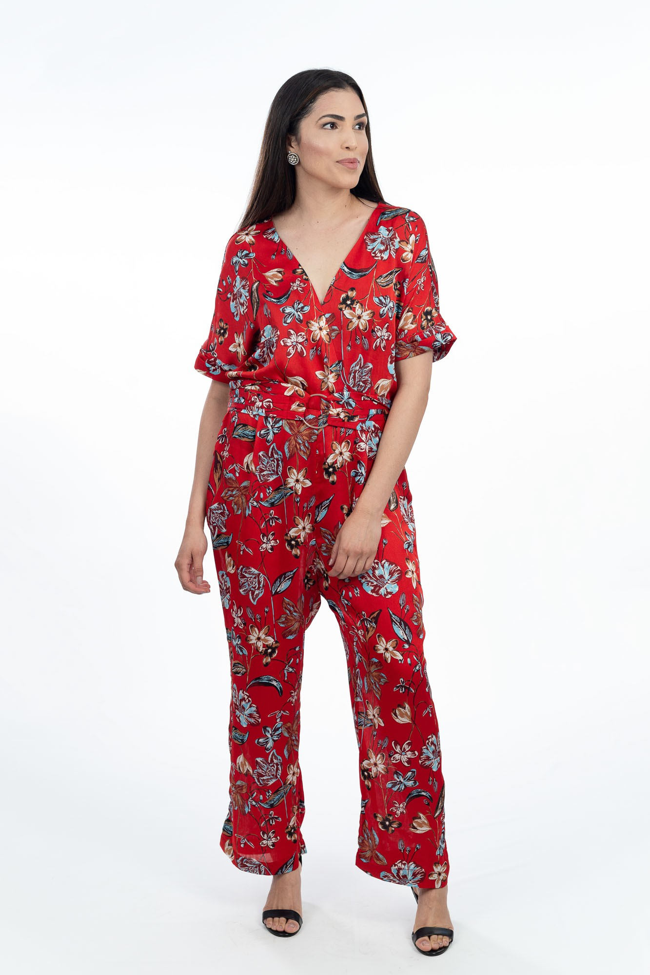 Macacão comprido terracota estampa floral Zara tam GG