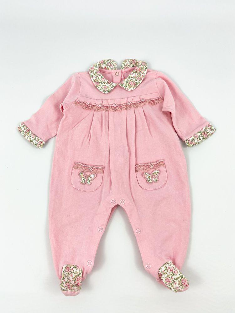 Macacão rosa gola/punho flores Anjos Baby tam 12m