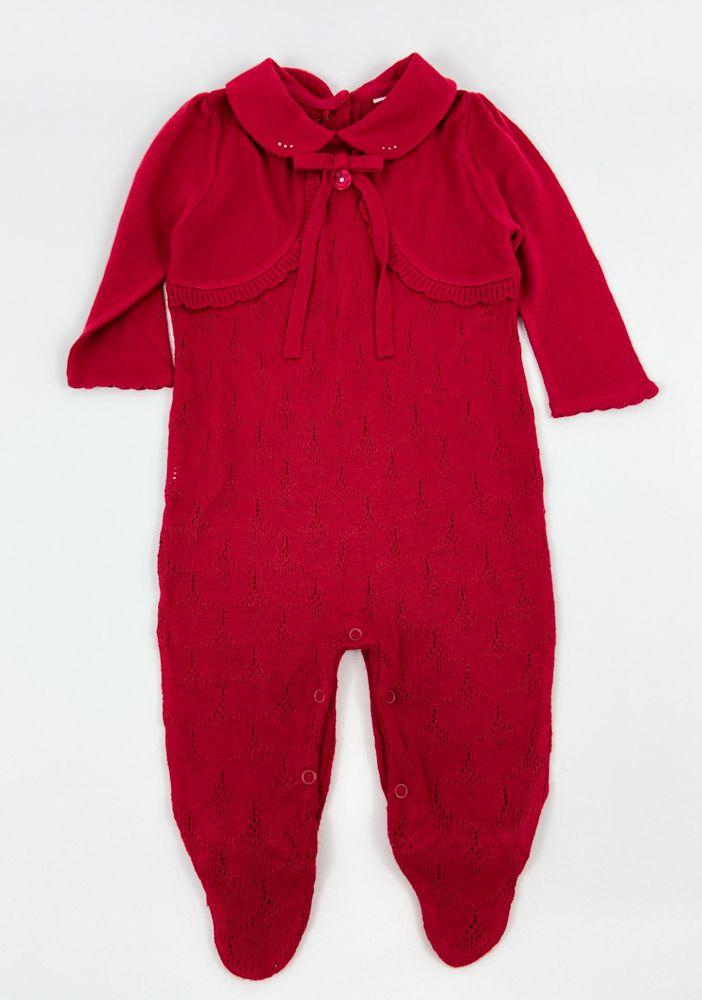Macacão tricô vermelho strass gola Noruega tam 12/18m