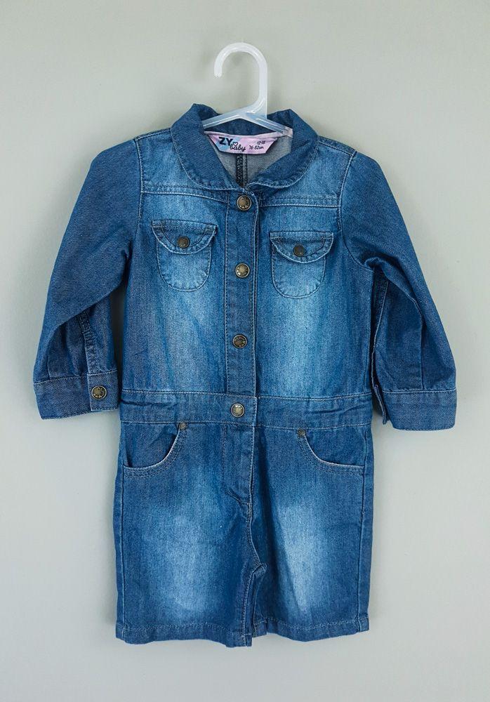 Macaquinho jeans botões Zy baby tam 12/18m