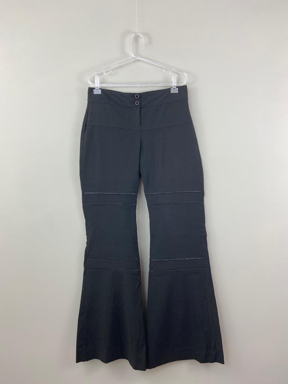 Pantalona preta detalhe zíper pernas Mixed tam 40