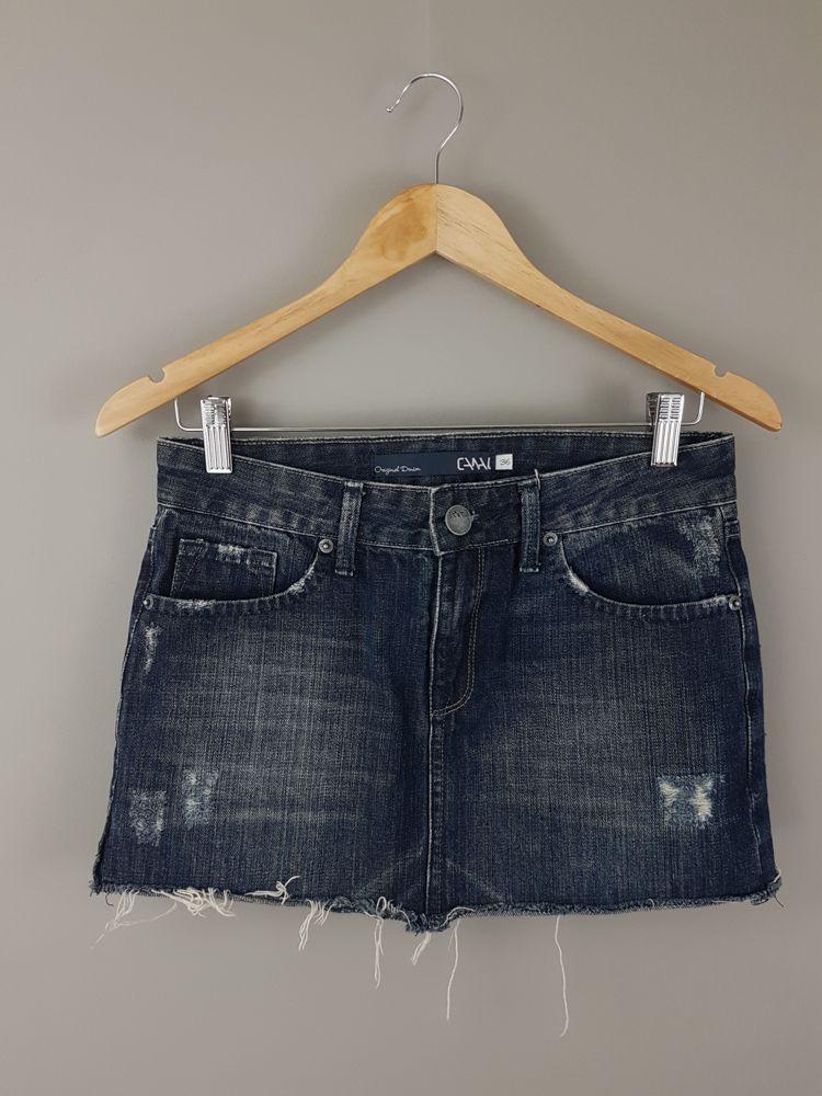 Saia jeans escura barra desfiada Canal tam 36
