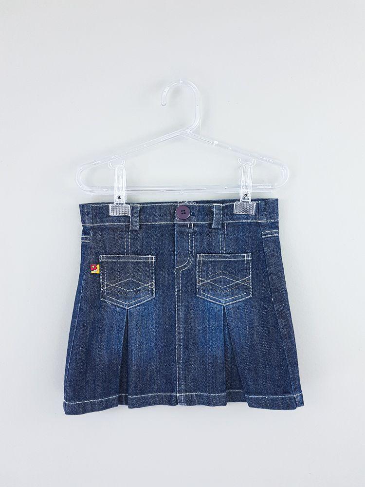 Saia jeans escura detalhe bolsos Green tam 3