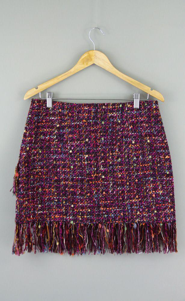 Saia tweed colorida detalhe franjas Zara tam G
