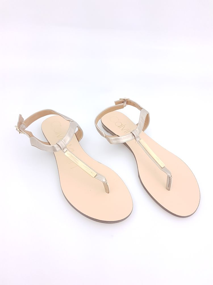 Sandália rasteira dourada Calvin Klein tam 38