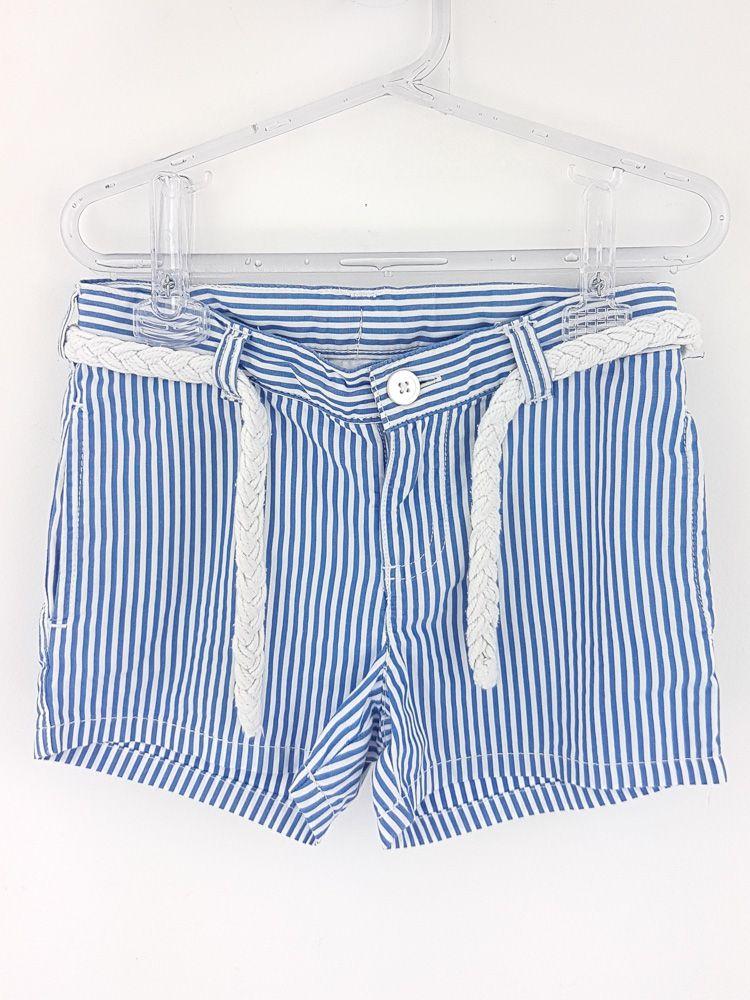 Short listrado branco azul cadarço Carters tam 5