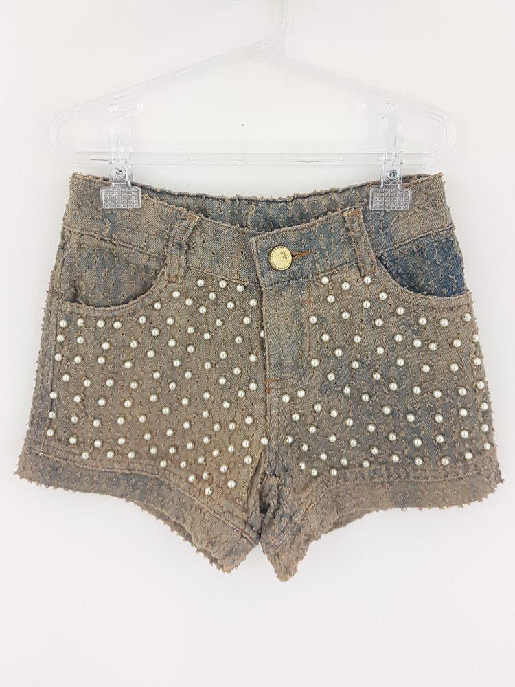 Short jeans pérolas Luluzinha tam 6