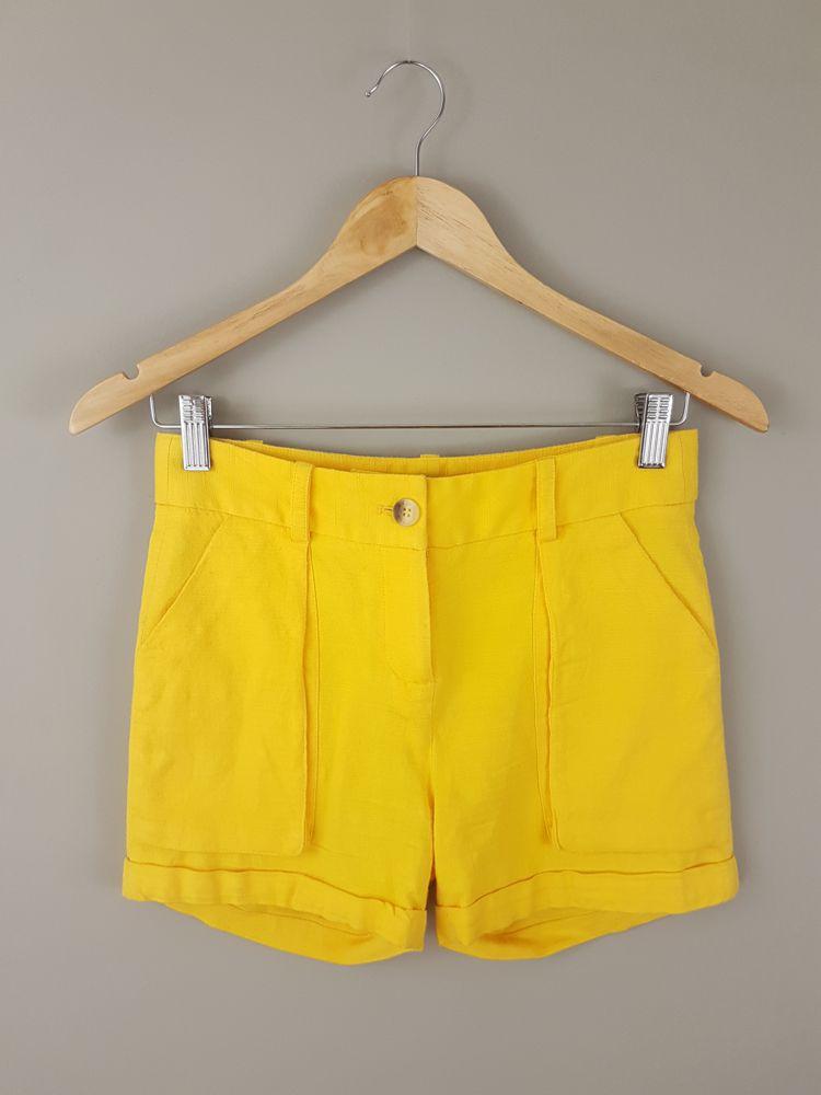 Short linho amarelo barra dobrada Daslu tam 34