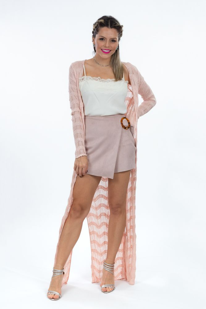 Short saia chamois rosa detalhe transpassado Zara tam P