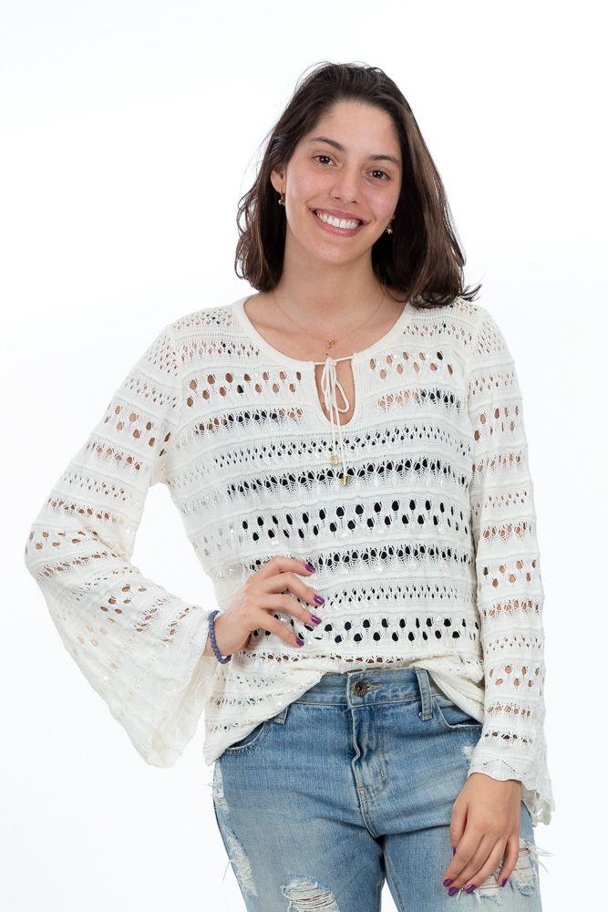 Suéter off white linha aplicação pedrinhas Ambicione tam P