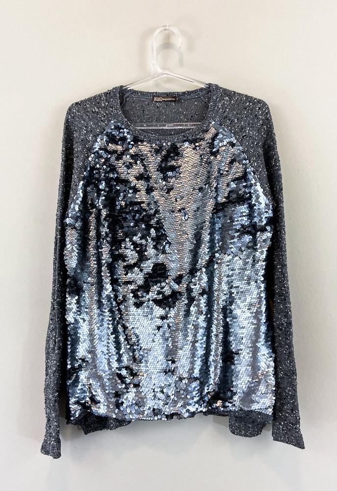 Suéter tricot mescla cinza chumbo paêtes Bobô tam M