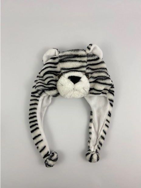Touca Plush Cabeça Tigre Listras Pretas