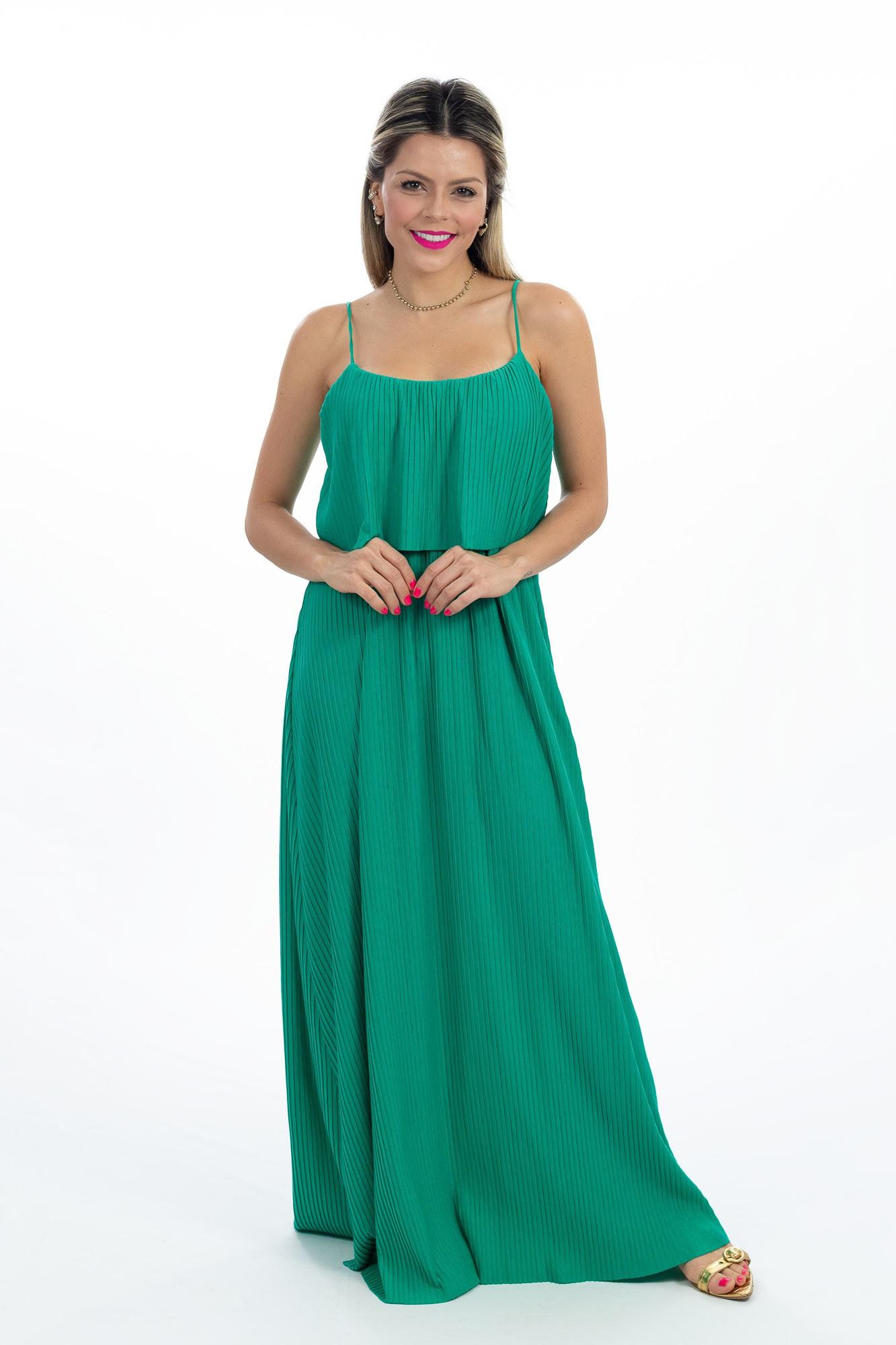 Vestido longo verde canelado Farm tam P