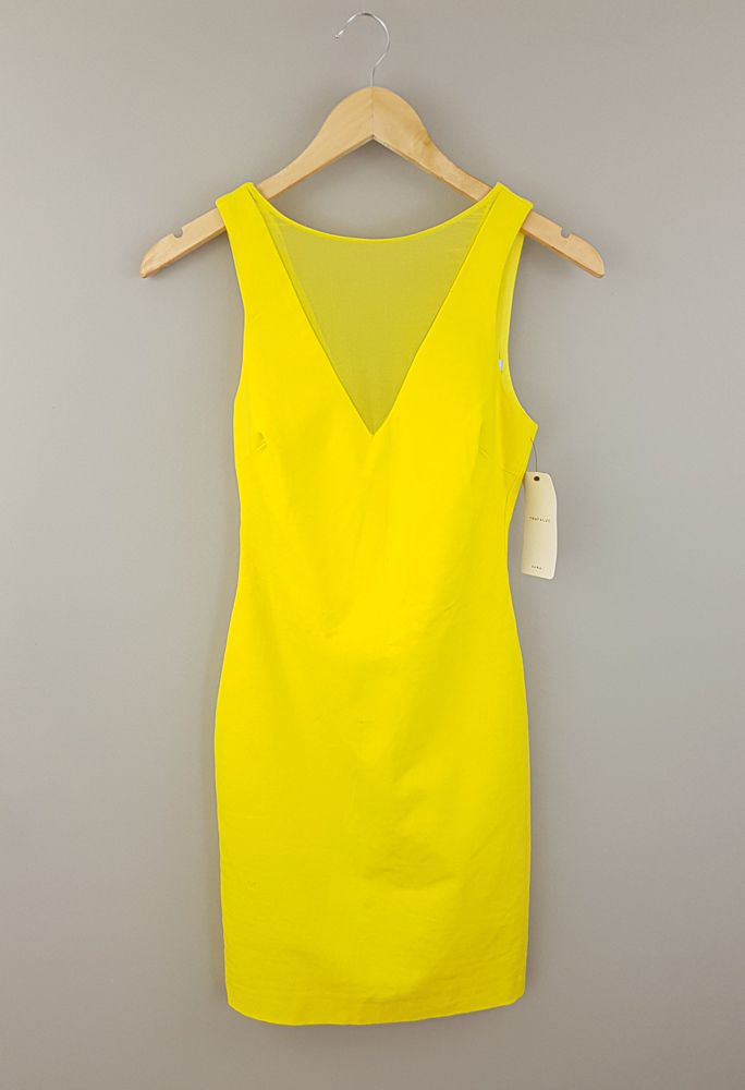 Vestido amarelo decote tela Zara tam 40