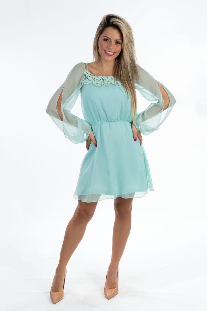Vestido azul detalhe guipir busto Farm tam M