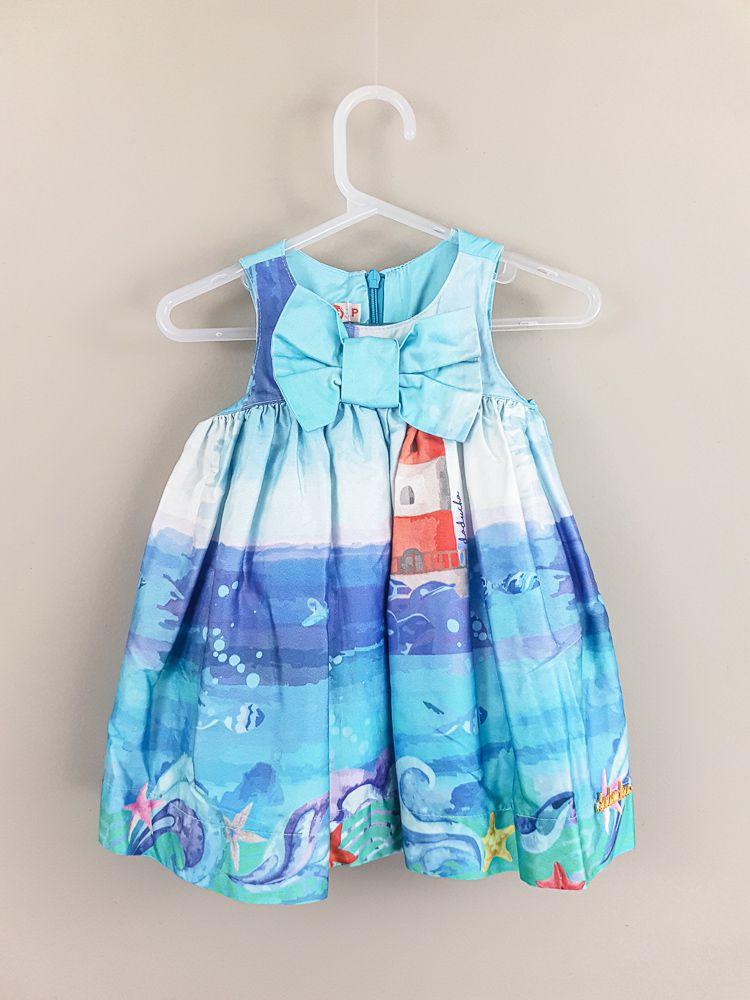 Vestido azul estampa fundo do mar c/calcinha Daducha tam P