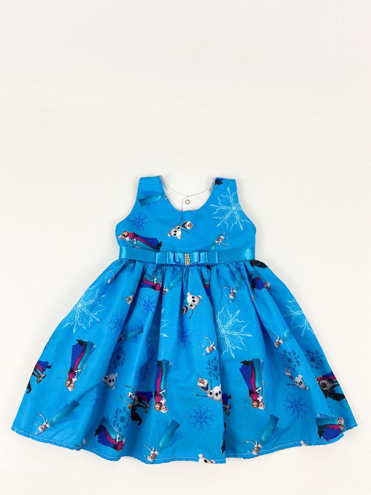 Vestido azul frozen detalhe laço cetim tam 2/3