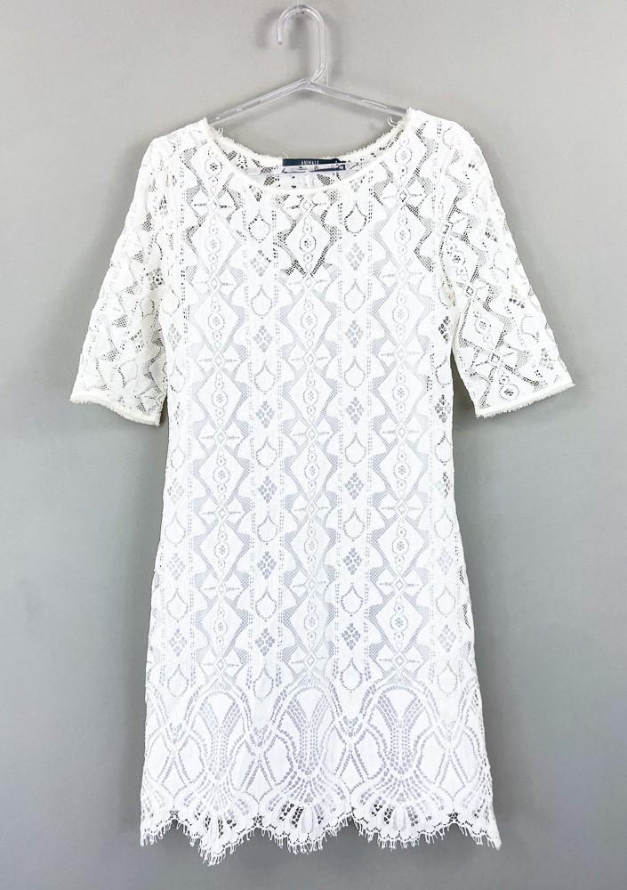 Vestido bordado branco com forro Animale tam 40