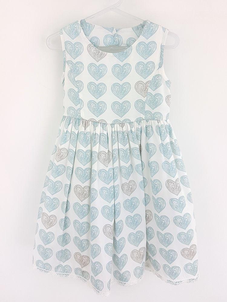 Vestido branco corações azuis/marrom Anjos Chic tam 3