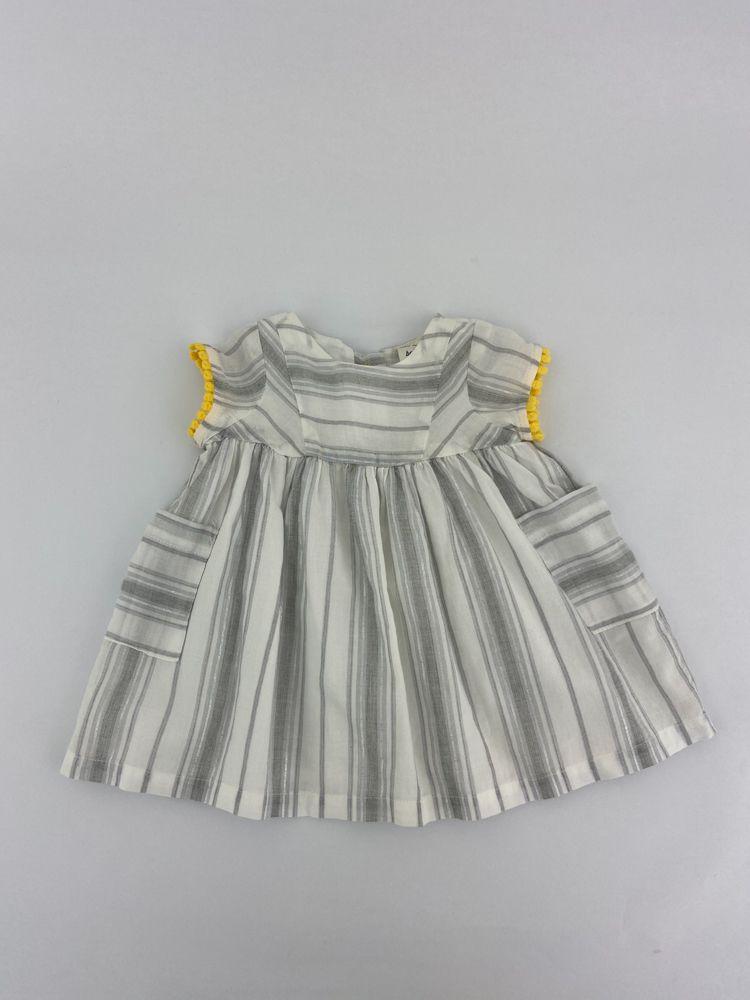 Vestido branco/cinza fios prateados sianinha amarela Baby Bgosh tam 3m