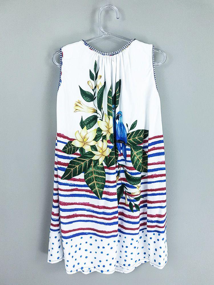 Vestido branco flores/pássaros/listras Fábula tam 6