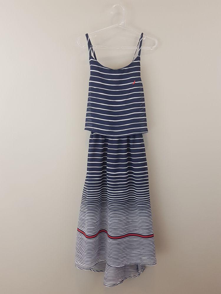 Vestido branco/marinho/vermelho detalhe babado Nautica tam 10